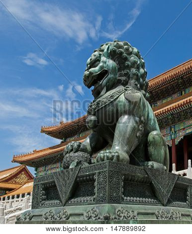 Chinese lion in Forbidden City Beijing China