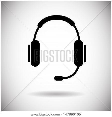 Headphones Web Icon Black Earphones Flat Vector Illustration