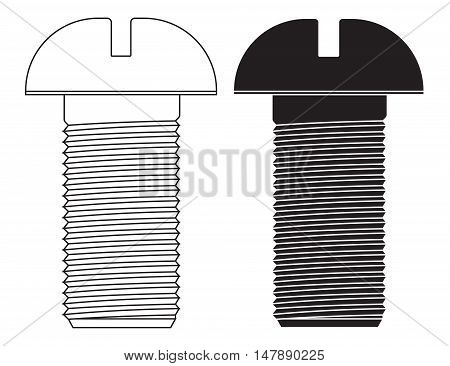 Screw. Bolt. Black and white icon. Vector illustration isolated on white background