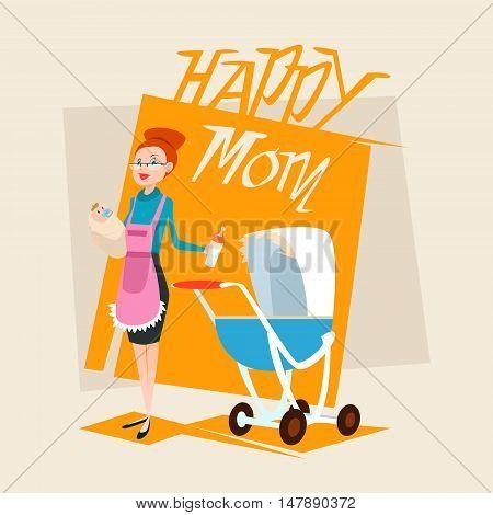 Happy Mother With Baby Newborn Pram Flat Vector Illustration