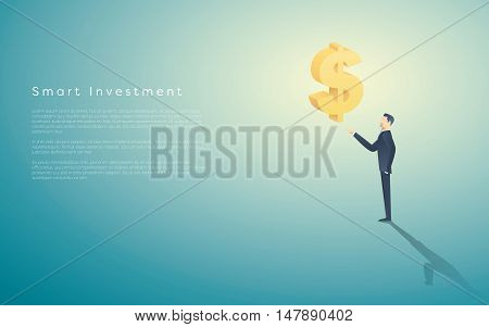 Smart investment business concept vector background with dollar sign as symbol of money and businessman. Bank and banking financial institutions abstract. Eps10 vector illustration.