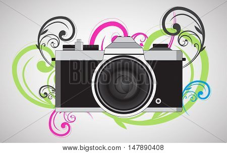 Retro camera in a flat style with colorful swirl. Vintage camera on a colored background. Antique hung old camera with strap. Vector Illustration