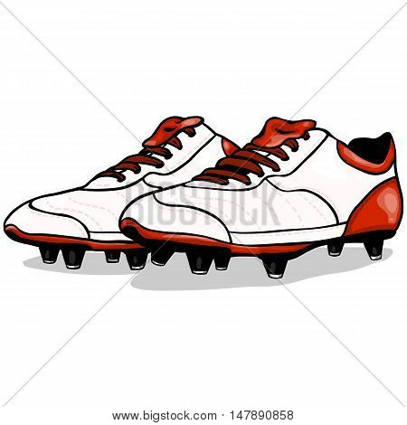 Vector Cartoon White And Red Soccer Boots