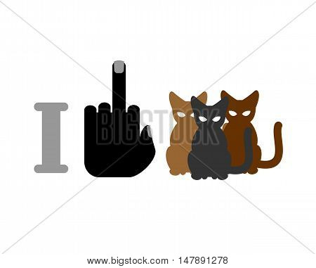 I Hate Cats. Fuck And Cat. Logo For Bullies And Flayers. Hatred For Home Pets