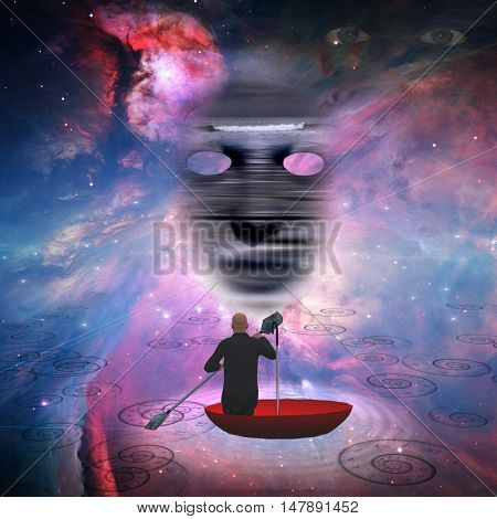 Business man in red umbrella floating in space 3D Render  Some elements provided courtesy of NASA