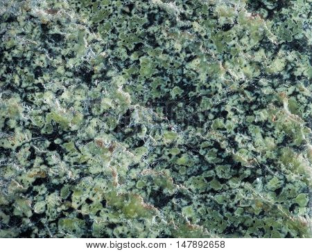 Surface mineral chrysotile, a member of the serpentine. Serpentine has a distinctive pattern and color reminiscent of snake skin.