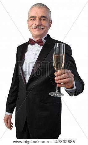Mature Elegant Man in Tux Toasting Isolated