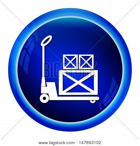 Hand pallet jack lift sign Hand Pallet Truck and crate icon illustration