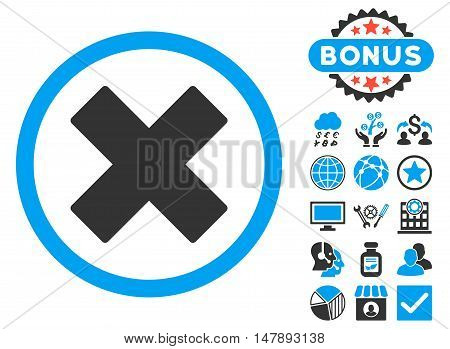 Delete X-Cross icon with bonus pictogram. Glyph illustration style is flat iconic bicolor symbols, blue and gray colors, white background.
