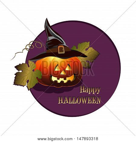 Happy Halloween background with sinister pumpkin. Vector illustration for celebration.