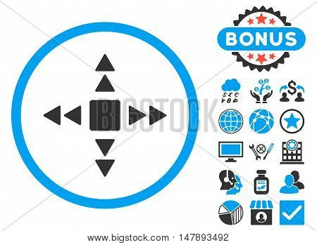 Direction Triangles icon with bonus images. Glyph illustration style is flat iconic bicolor symbols, blue and gray colors, white background.