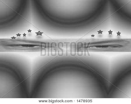 Abstract Render Woman With Stars In Her Eyes B W