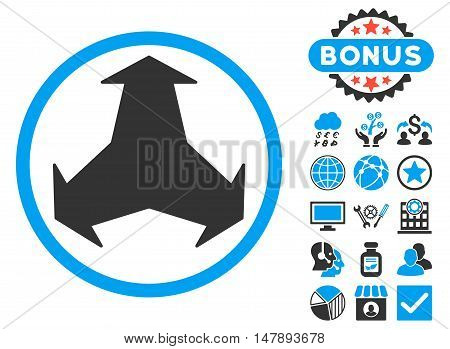 Directions icon with bonus images. Glyph illustration style is flat iconic bicolor symbols, blue and gray colors, white background.