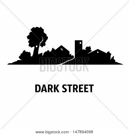 Illustration of street with cottages and trees at night. Silhouettes. Black on white.