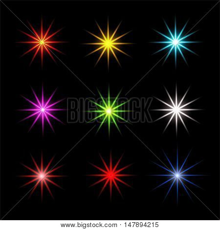 Collection of sparkle vector. Sparkles colored symbols. Sparkle star. Symbols sparkling stars. Set of sparkles star. Sparkle light. Sparkling stars. Easy to use.