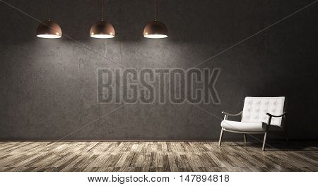 Interior Of Living Room With Recliner Chair And Three Lamps 3D Rendering