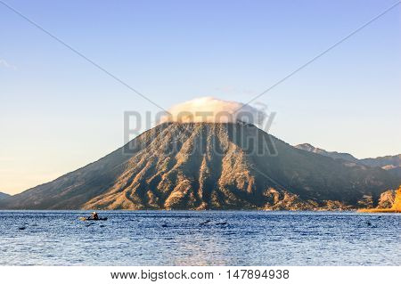 Early morning light on San Pedro volcano Lake Atitlan, Guatemala.