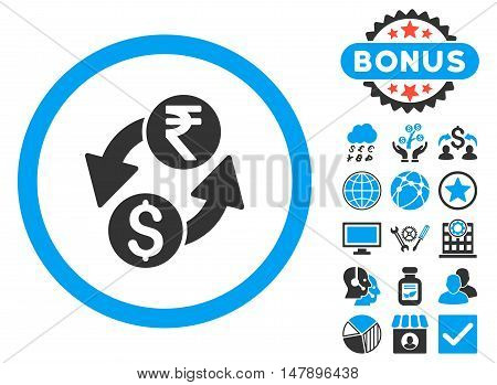 Dollar Rupee Exchange icon with bonus pictogram. Glyph illustration style is flat iconic bicolor symbols, blue and gray colors, white background.