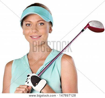 Closeup of a Female Golfer with Club