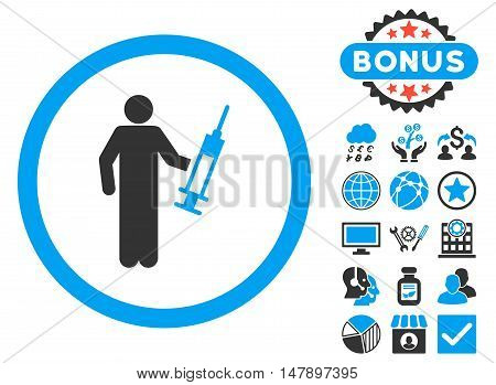 Drug Dealer icon with bonus images. Glyph illustration style is flat iconic bicolor symbols, blue and gray colors, white background.