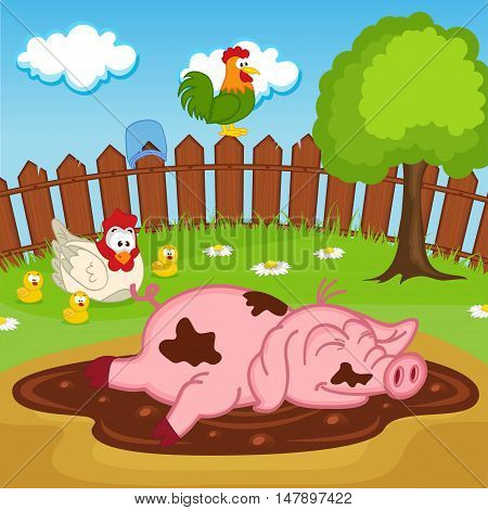 pig sleeping in puddle - vector illustration, eps