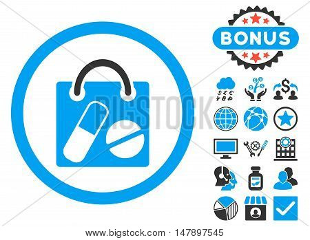 Drugs Shopping Bag icon with bonus symbols. Glyph illustration style is flat iconic bicolor symbols, blue and gray colors, white background.