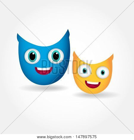 Two cute smiling owls isolated on white background. Vector illustration of cartoon owls in bright blue and yellow colors. Friendship concept.