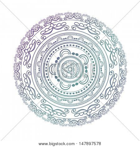 Mandala. Circle pattern in light pink, violet and blue colors. Decorative elements. Can be used for textile, print, web design. Islamic, Arabic, Indian, Asian and ottoman motifs.
