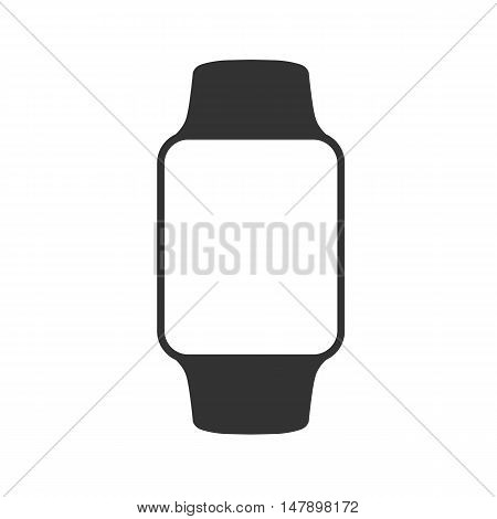 Smart Watch Isolated On White. Logo. Stainless Silver . Vector With App. Reflected Surface. Icon Scr