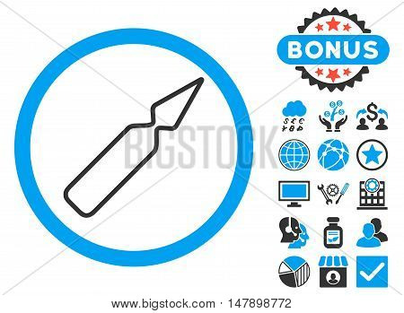 Empty Ampoule icon with bonus symbols. Glyph illustration style is flat iconic bicolor symbols, blue and gray colors, white background.