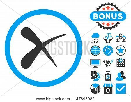 Erase icon with bonus elements. Glyph illustration style is flat iconic bicolor symbols, blue and gray colors, white background.