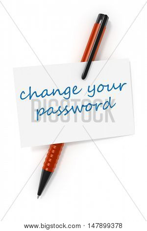 3d rendering of a business card and a ball pen and the text change your password