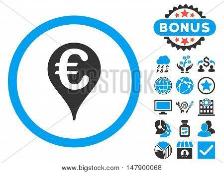 Euro Bank Map Pointer icon with bonus pictogram. Glyph illustration style is flat iconic bicolor symbols, blue and gray colors, white background.