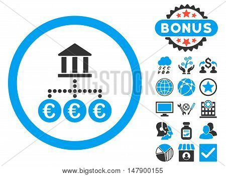 Euro Bank Transactions icon with bonus pictogram. Glyph illustration style is flat iconic bicolor symbols, blue and gray colors, white background.