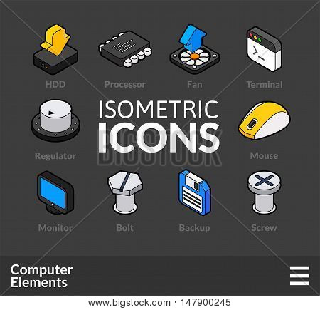 Isometric outline icons, 3D pictograms vector set 3 - computer symbol collection