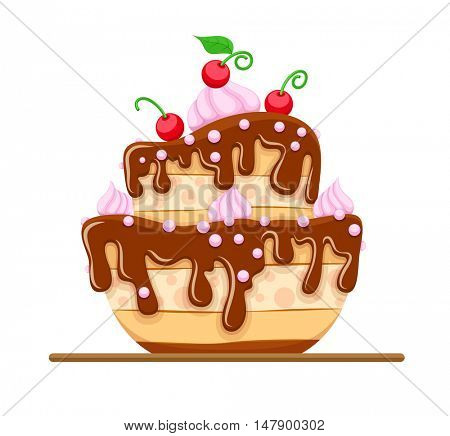 Sponge cake dessert with sweet chocolate glaze and cream red cherries. Icon isolated on white background. Rasterized illustration