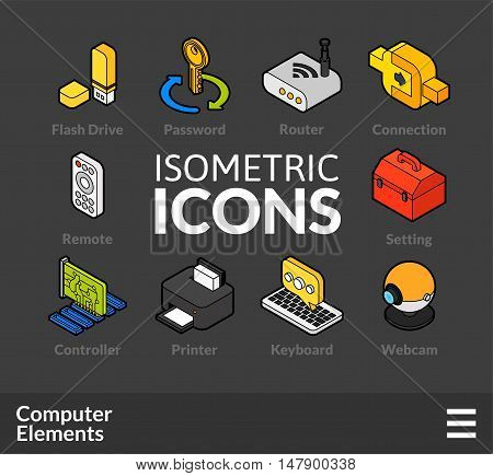 Isometric outline icons, 3D pictograms vector set 4 - computer symbol collection