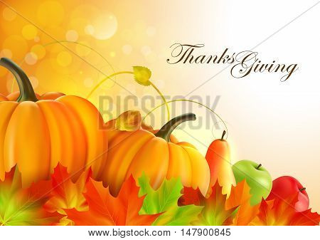 Thanksgiving greeting card with maple leaves pumpkins, apples and pear.
