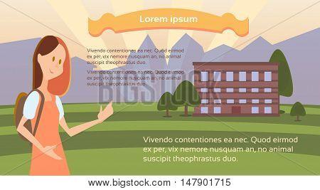 Schoolgirl With Backpack Go to School Student Univarsity Education Concept Flat Vector Illustration