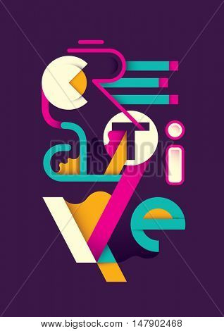 Creative abstract design with typography. Vector illustration.