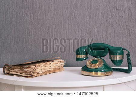 Vintage telephone in interior