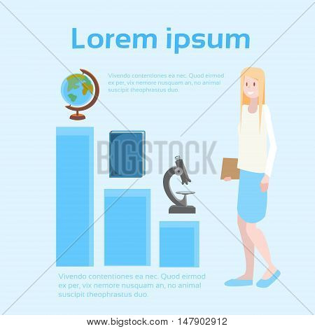 Student Girl University Education Icons School Pupil Banner With Copy Space Flat Vector Illustration