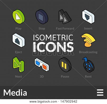 Isometric outline icons, 3D pictograms vector set 37 - Media symbol collection