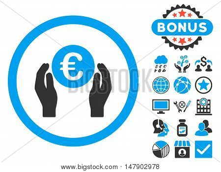 Euro Insurance Hands icon with bonus images. Glyph illustration style is flat iconic bicolor symbols, blue and gray colors, white background.