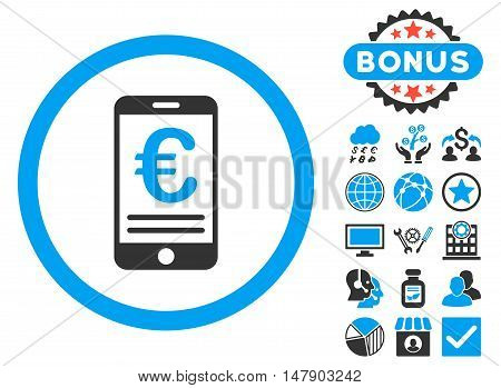 Euro Mobile Bank Account icon with bonus images. Glyph illustration style is flat iconic bicolor symbols, blue and gray colors, white background.