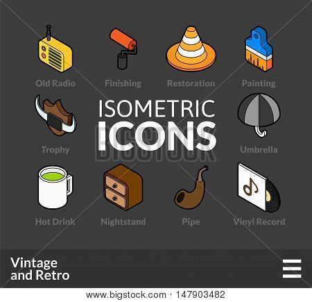 Isometric outline icons, 3D pictograms vector set 50 - Vintage and retro symbol collection
