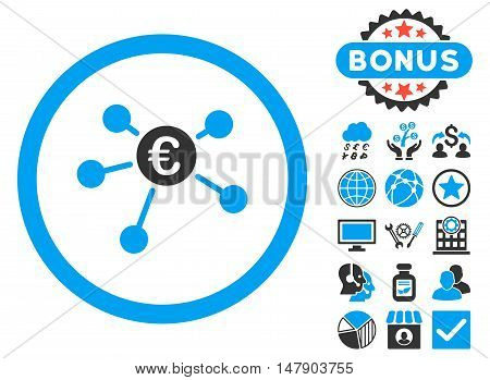 Euro Payments icon with bonus symbols. Glyph illustration style is flat iconic bicolor symbols, blue and gray colors, white background.