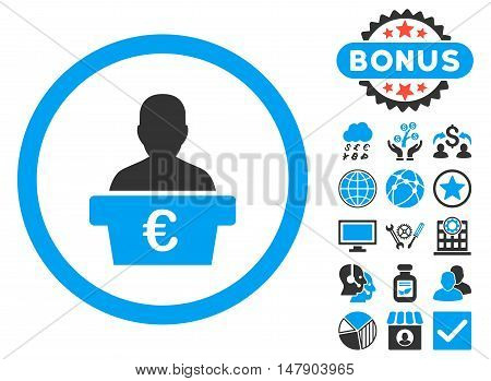 Euro Politician icon with bonus design elements. Glyph illustration style is flat iconic bicolor symbols, blue and gray colors, white background.