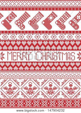 Merry Christmas Tall Scandinavian Printed Textile style and inspired by Norwegian Christmas and festive winter seamless pattern in cross stitch with stockings ,heart, angel, decorative ornaments