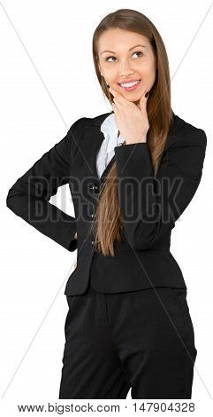 Young Businesswoman Thinking with Hand on Face and Hand on Hip - Isolated